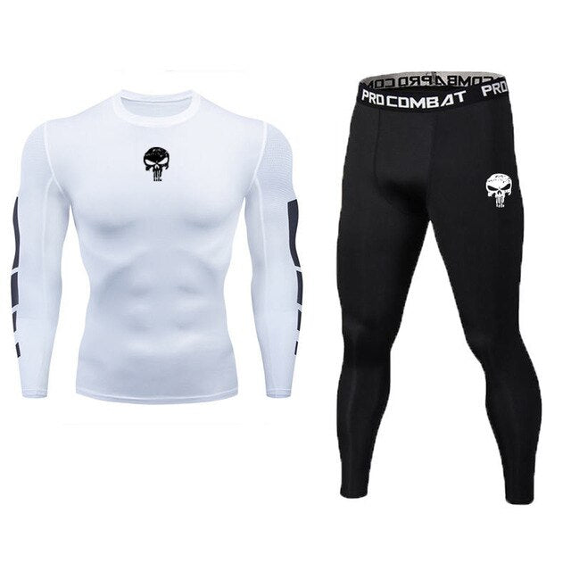 Skull Men Sport Running Yoga Suits