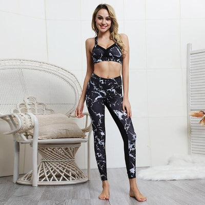 Marble Printed Sport Yoga Set