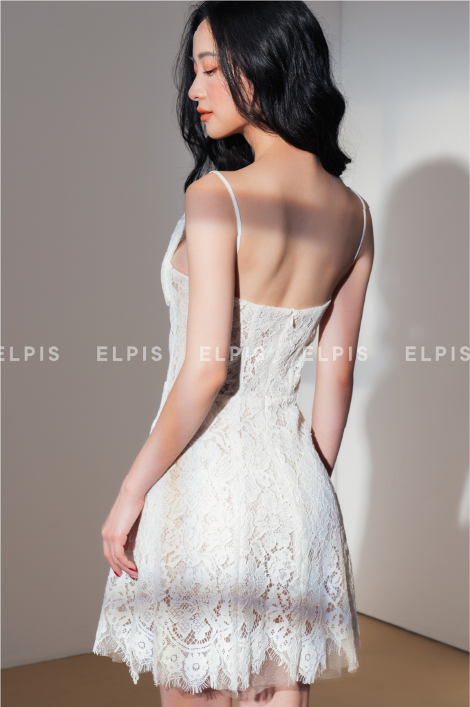 Lace mini dress in white | SS20D89