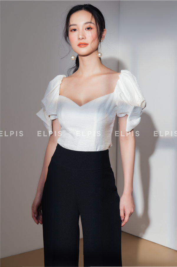 Sweetheart neckline top featuring puff sleeve with bow top | SS20T89