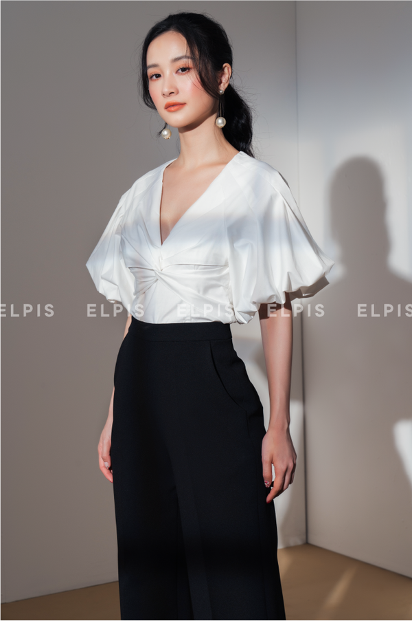 V neckline Puff Sleeves Blouse | SS20T93