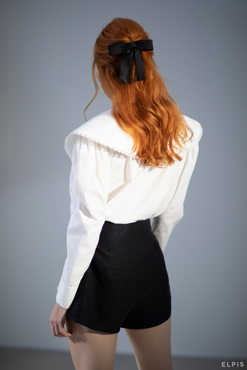 Basic Blouse featuring round neckline, puritian collar, long puff sleeves, loop closure cuff | FW20T69