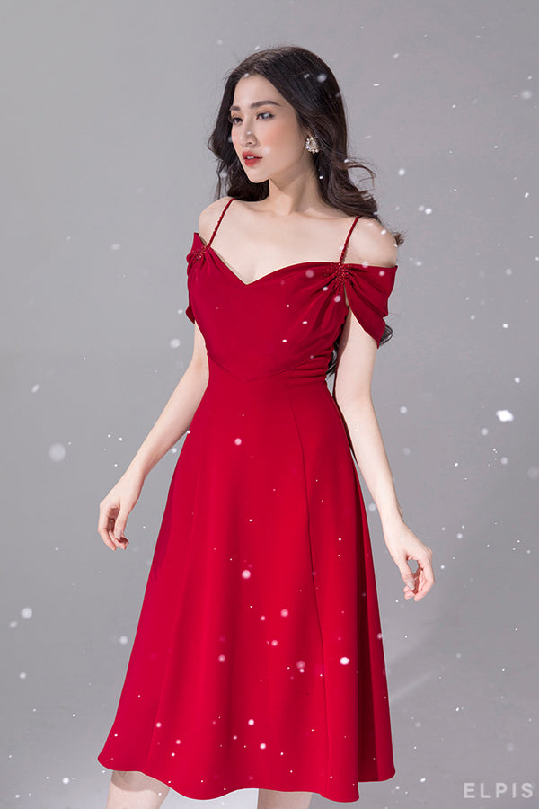 sweetheart neckline midi dress | FW19D14