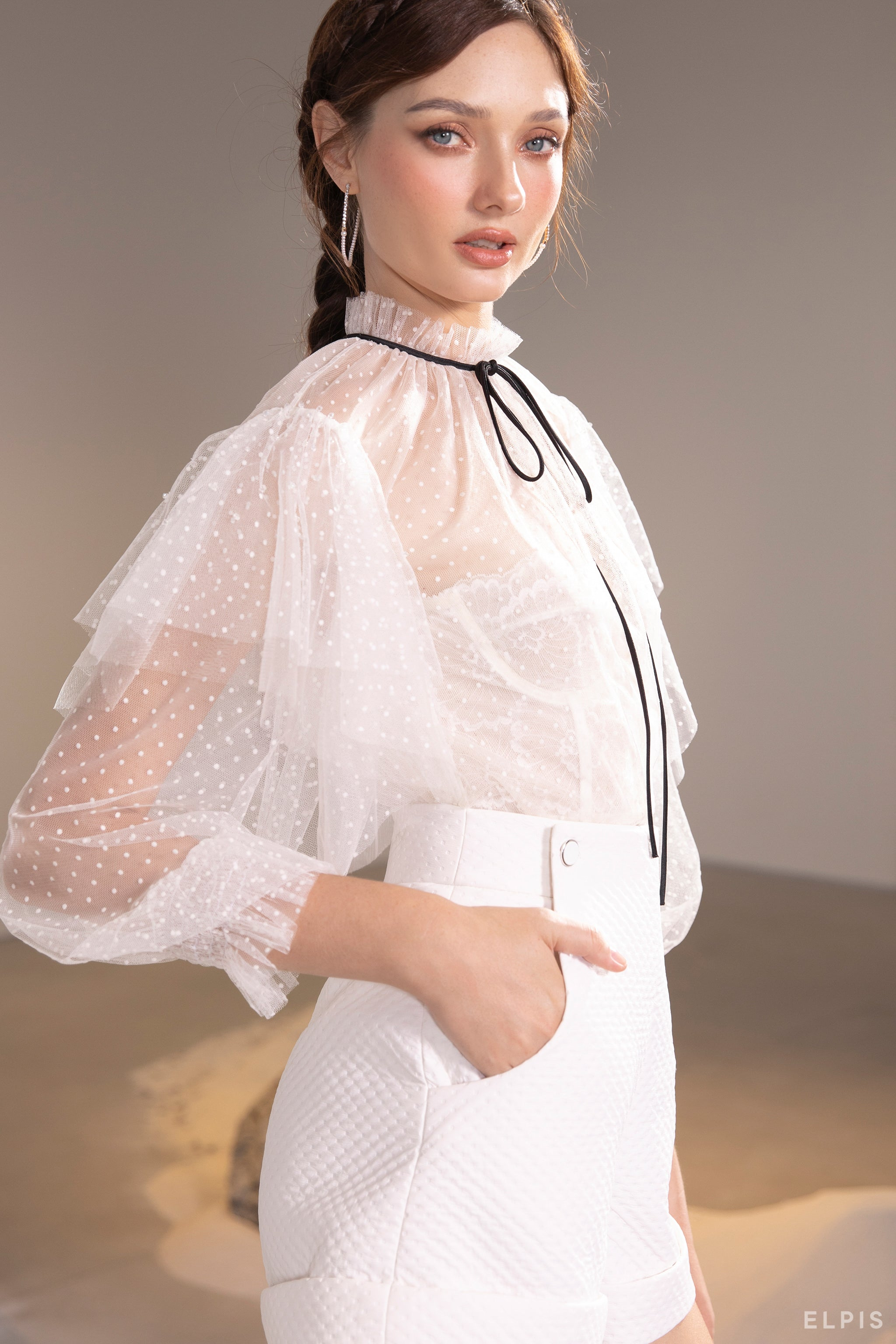 See through blouse featuring ruffle collar, long puff sleeves, layers detailing | SS21T42