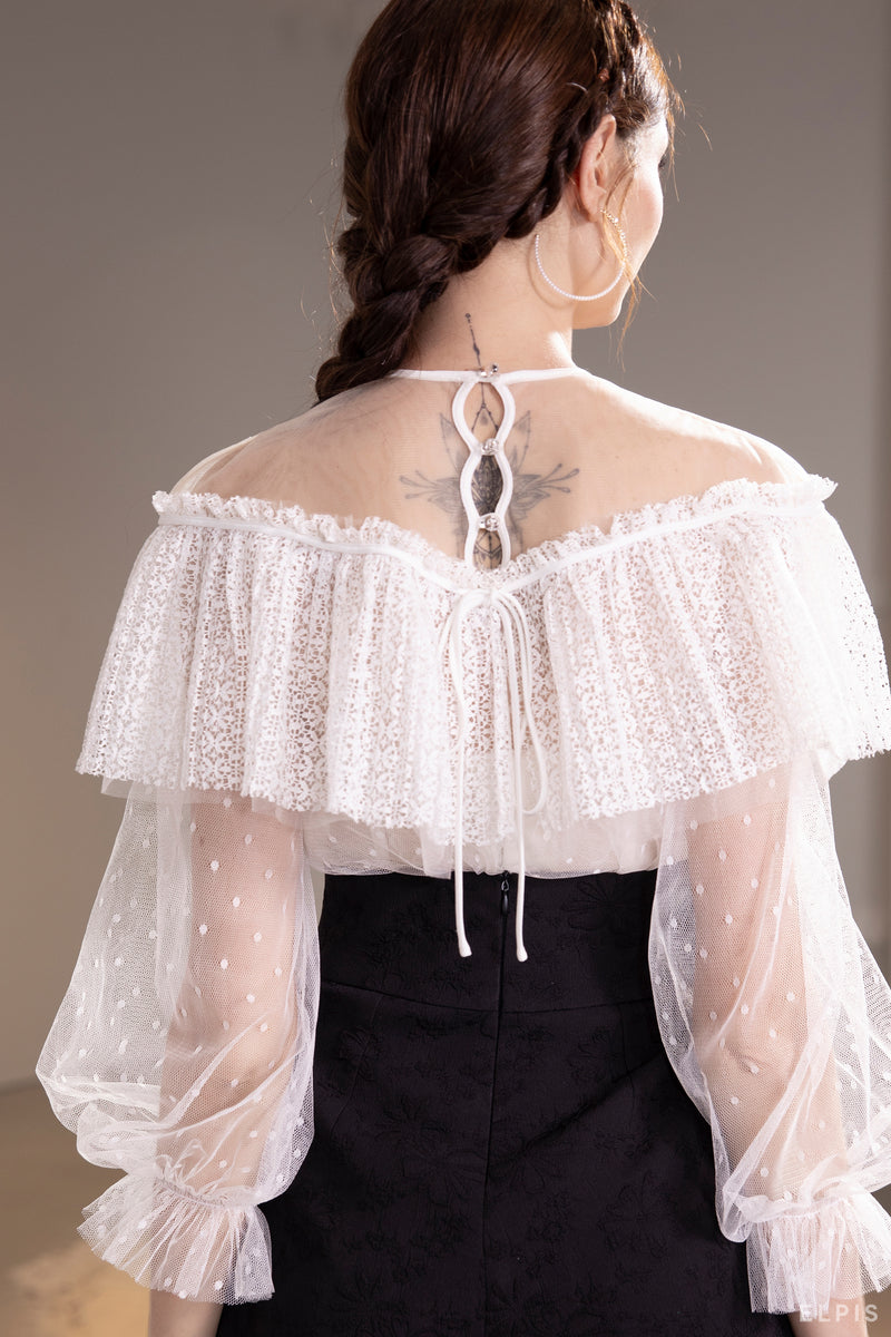 See through blouse featuring round neckline, bishop sleeves, layers detailing | SS21T52