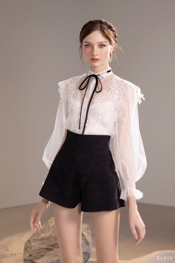See through shirt featuring pussy bow collar, bishop sleeves, embroidery lace | SS21T32