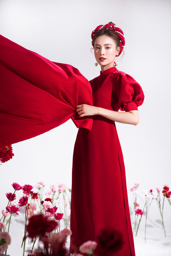 Ao dai featuring raglan balloon sleeves, imperial collar | NHU Y