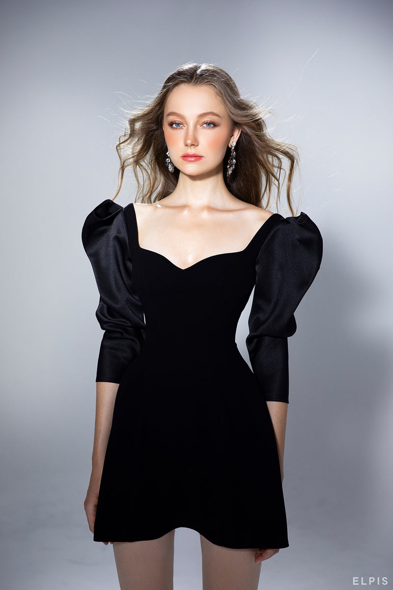a sweetheart neckline, a long puff sleeves, Maxi Bow design shoulders, a flared mini dress | PF20D29