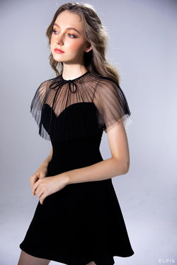 Sweetheart neckline mini dress featuring pleat black mesh fabric pierrot neckline.