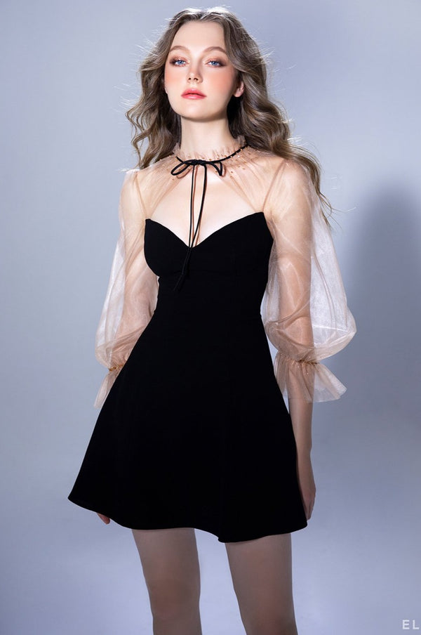 Sweetheart neckline mini dress featuring puff mesh sleeves, pussy bow | PF20D69