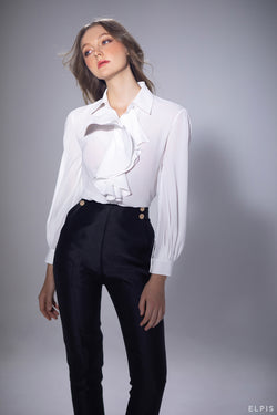 Ppeg-top pants featuring high waisted, two side slash pockets, long length, two side gold-tone button | PF20B79