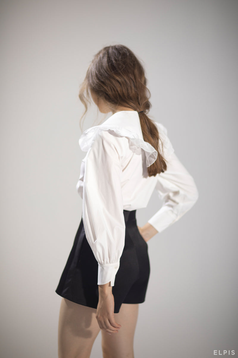 Peter Pan Collar Knot Cuff Ruffle Trim Blouse | PF20T69