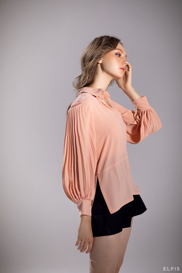 Plated design sleeves shirt | PF20T39