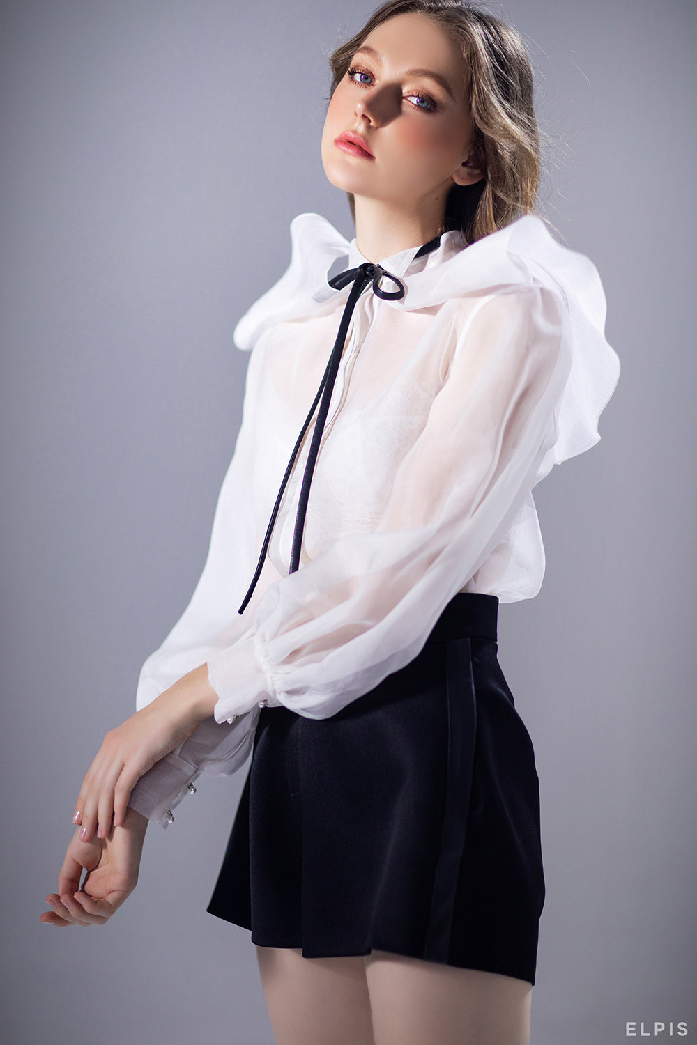 Shirts featuring pierrot, pussy bow collar, bishop sleeves, loop closure cuff | PF20T59