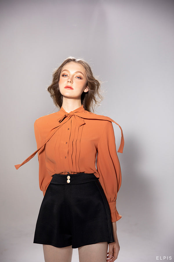 Bow Shirt featuring Bow, draping details, a long design sleeves | PF20T29