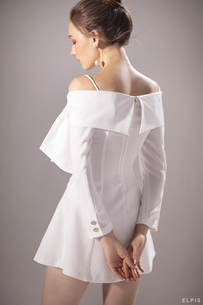 Tuxedo Dress featuring Off-shoulder, draping details, Maxi Bow on the left |PF20V09