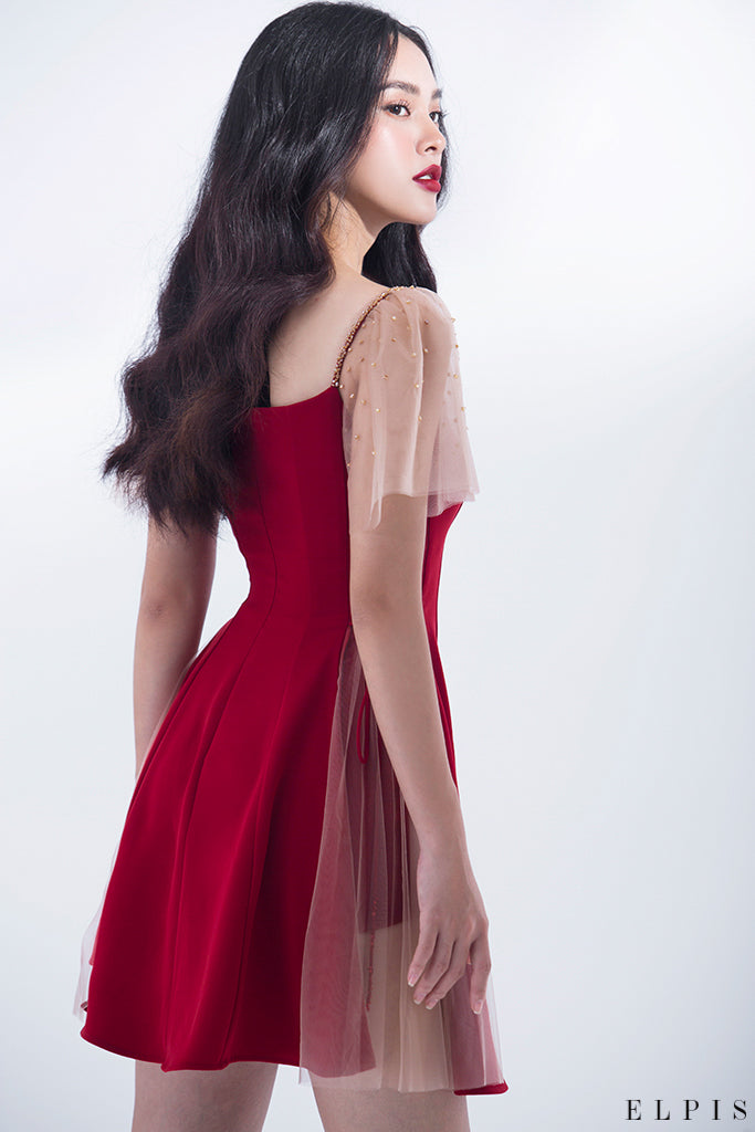 V neckline, fairy sleeves, cut-out on the sides mini dress | HD18D01