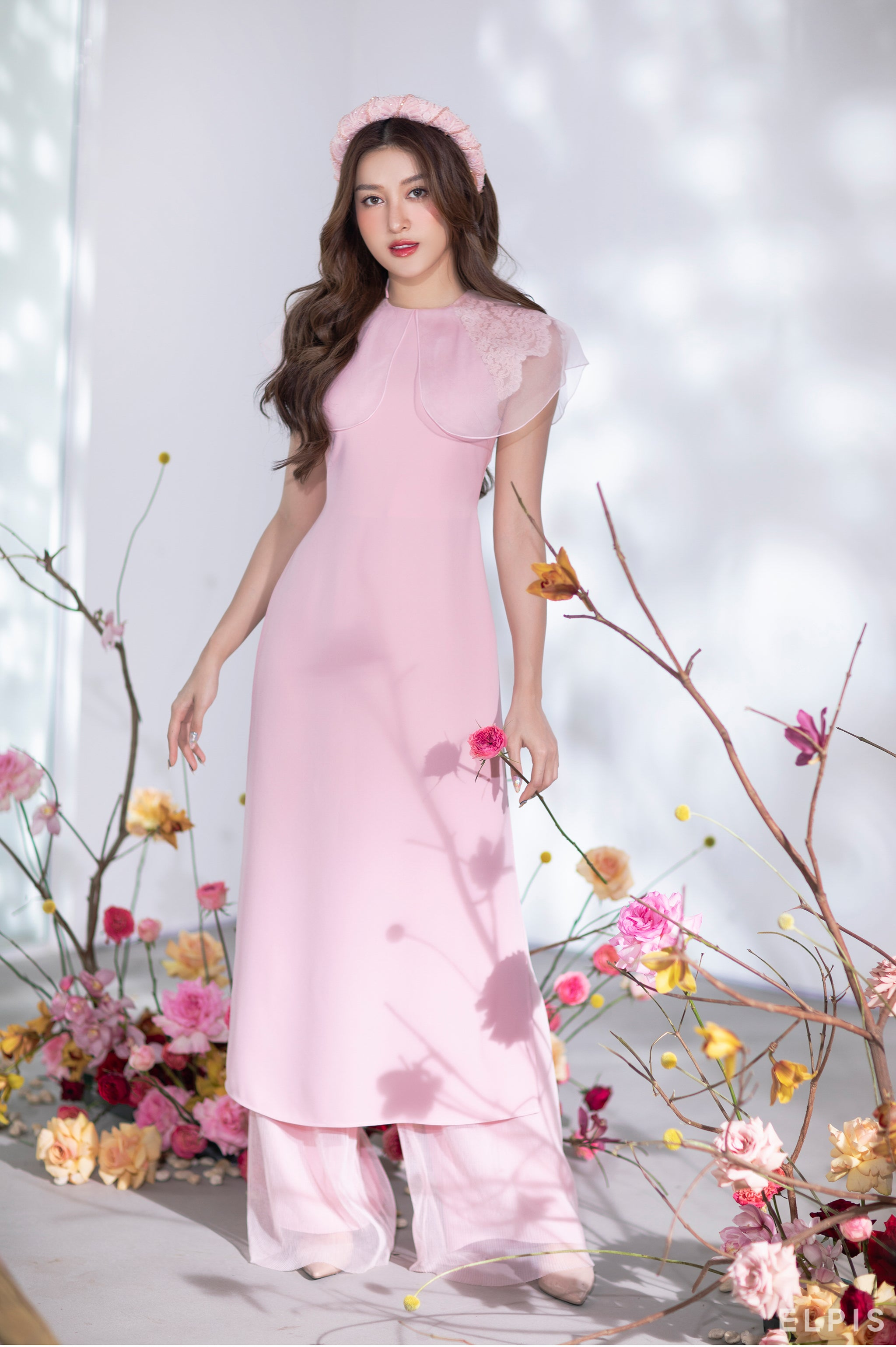 Ao dai featuring round collar, layers detailing | AN LANH