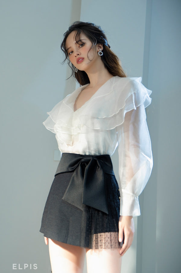 Organza Blouse featuring classic voluminous sleeve, layers detailing | FW20T39