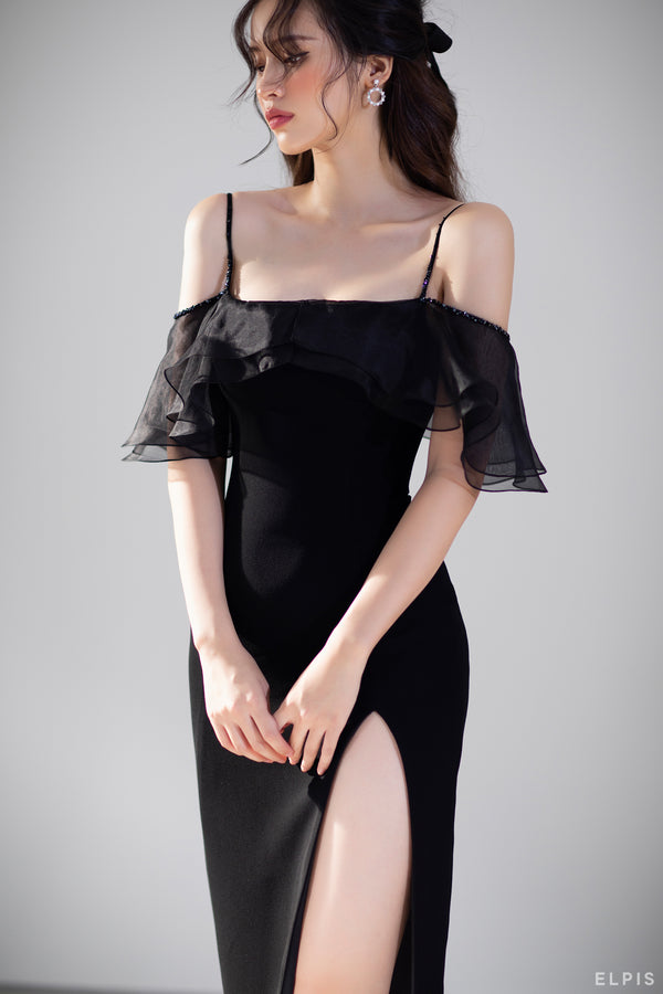 off-shoulders split body dress featuring square neckline | FW20D29
