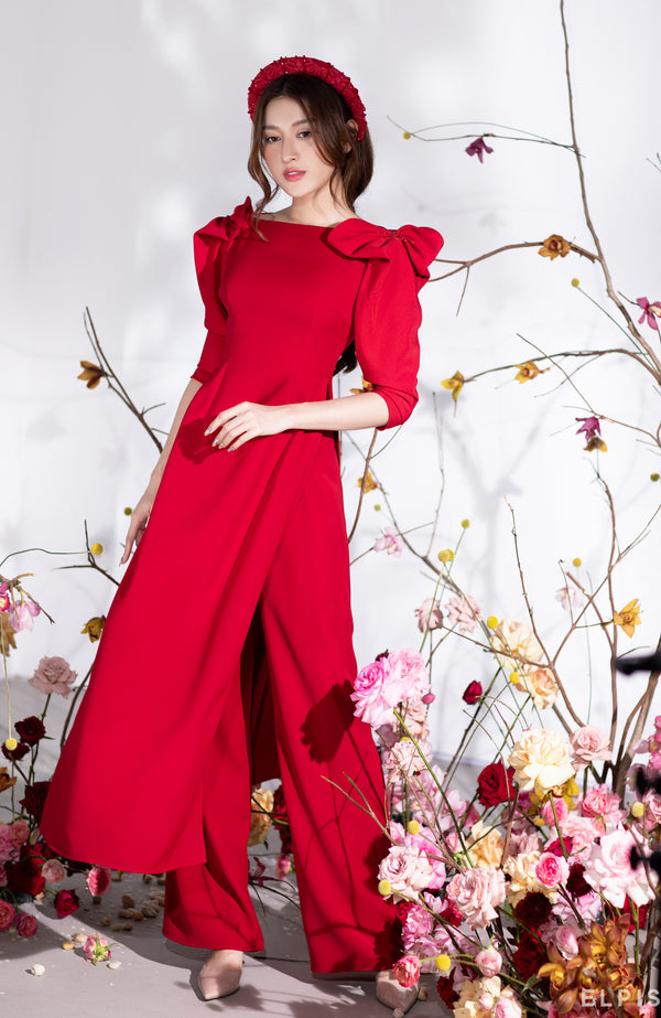 Ao dai featuring bateau neckline, wrapping detailing. | PHU QUY