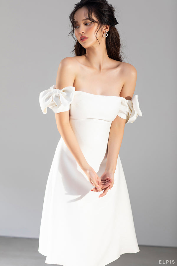 midi dress featuring square neckline, puff short sleeves, bow detailing | FW20D59