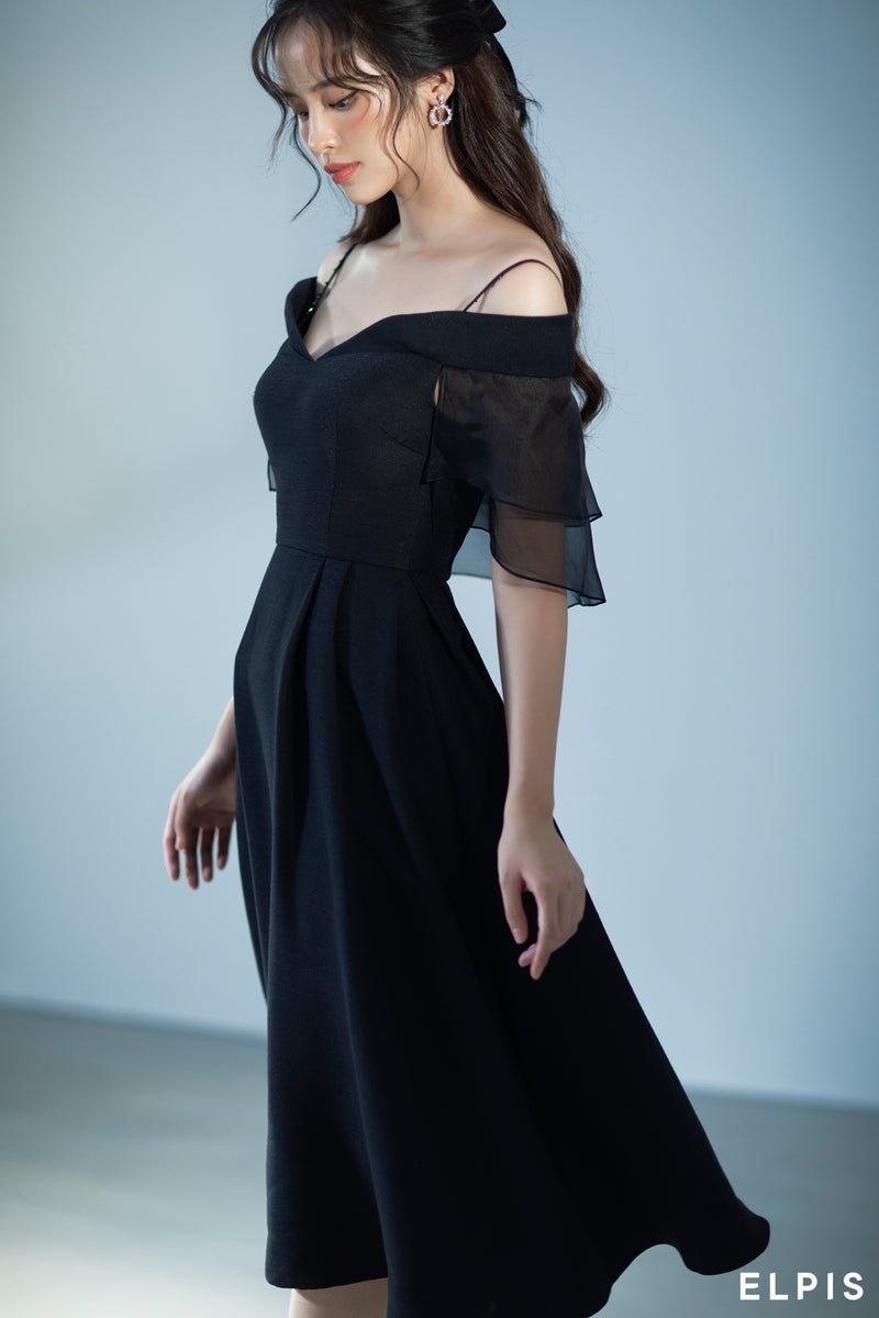 Midi Dress featuring sweetheart neckline, spaghetti traps, layer detailing at the sleeves | FW20D89