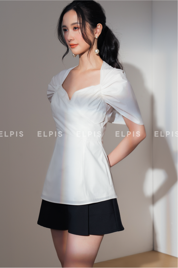 pouf short sleeves blouse in white| SS20T97