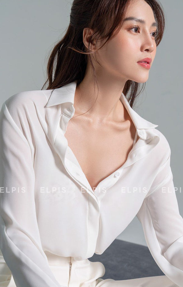 a pointed collar, long sleeves shirt | SS20T05