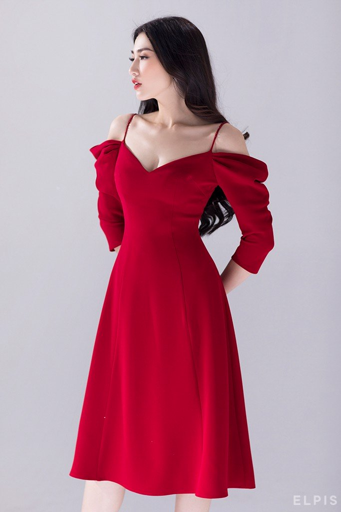 off shoulders spaghetti traps midi dress | FW19D08