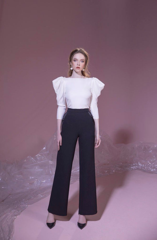 Wide leg trouser in black | PF19B04