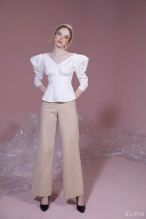 Puff sleeves, V-neckline, cuved hem shirt | PF19T03