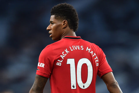 Marcus Rashford of UK Manchester United and England's national football soccer team is an athlete activist wearing his Black Lives Matter jersey