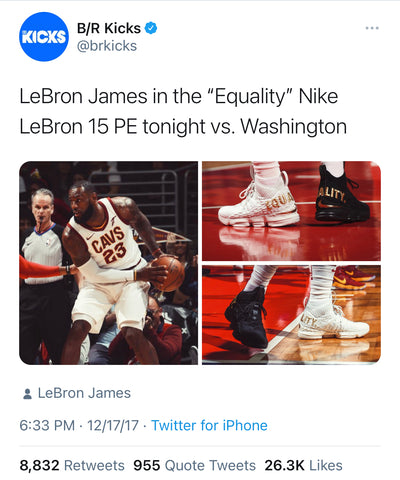 Lebron James in the Equality Nike 15 PE in the game vs. Washington