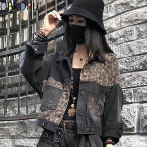 Vintage Black Leopard Women Denim Jacket Spring Harajuku Punk Jean Jackets Coat Boyfriend Loose Pocket Fashion Streetwear
