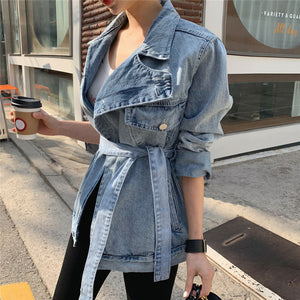 Colorfaith New 2020 Spring Autumn Women's Denim Jackets Casual Turn-down Collar Sashes Streetwear Asymmetrical Jeans Tops JK6775