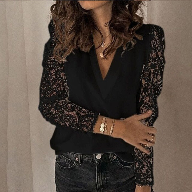 Women V-neck Lace Hollow Out Blouse Patchwork Long Sleeve White Office Ladies Blouses 2020 Summer Casual Solid Female Tops