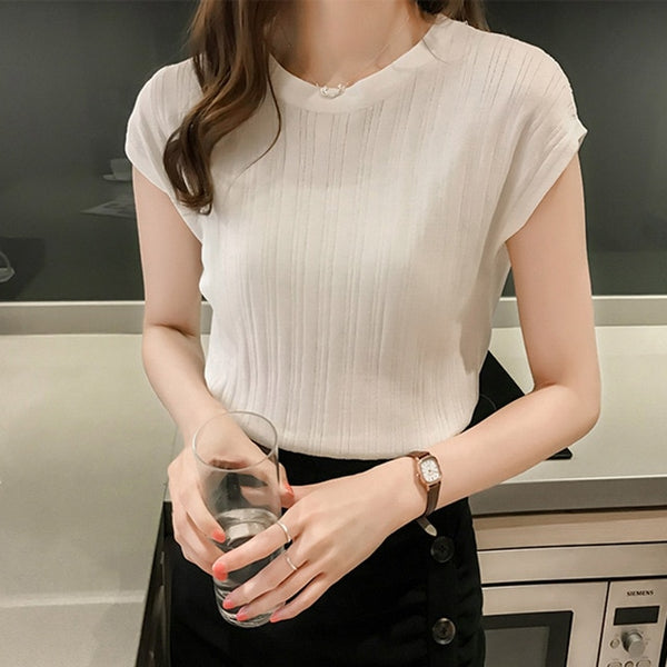 2020 Summer Ice Silk Knitted Tops Short Sleeve Solid Bright Office Lady Work Causal Silk Shirts Korean Japan Slim Knitwear