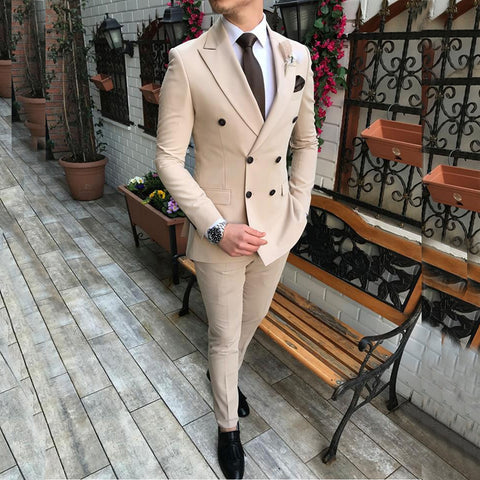 2020 New Beige Men's Suit 2 Pieces Double-breasted Notch Lapel Flat Slim Fit Casual Tuxedos For Wedding(Blazer+Pants)