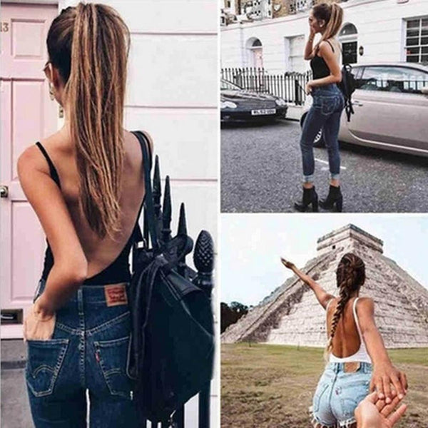Women's Sleeveless Backless Sexy Jumpsuit Solid Color Bottoming Romper Playsuit 2020