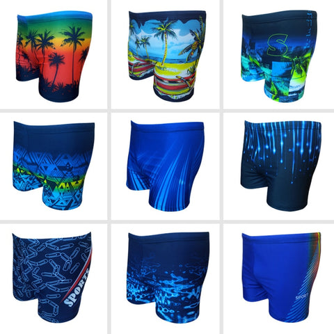 2020 New Style Swimming Trunks Men's Fashion Large Size Printed Boxer Slim Fit with Lace-up High Elastic Loose-Fit Sports Swimmi