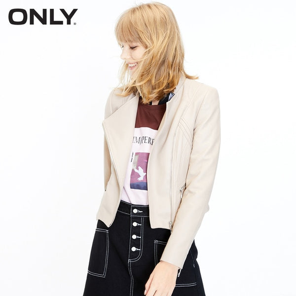 ONLY Women's Spring Sheepskin Slim Fit Leather Jacket |119310529