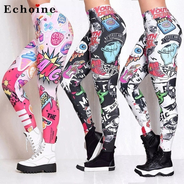 Women Pants Printed Joggers Pocket Fitness Elastic High Waist Leggings Sweatpants Stretch Streetwear Lady Bodybuilding Trousers