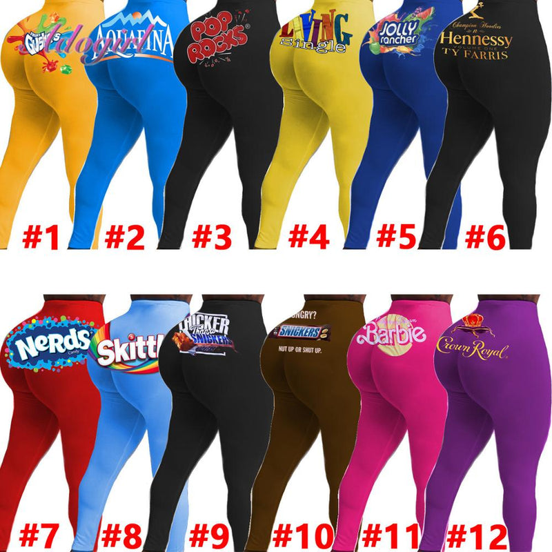 Women Leggings Casual Candy Color Print High Waist Jogging Elastic Sportwear Pants Women Bodycon Trousers Outfit Sweatpants