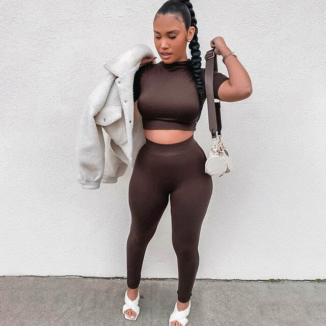 Fitness Activewear Jogger Two Piece Set Solid Short Sleeve Crop Tops T-Shirt Leggings Sweatpants Suit Outfit Gym Soprt Tracksuit