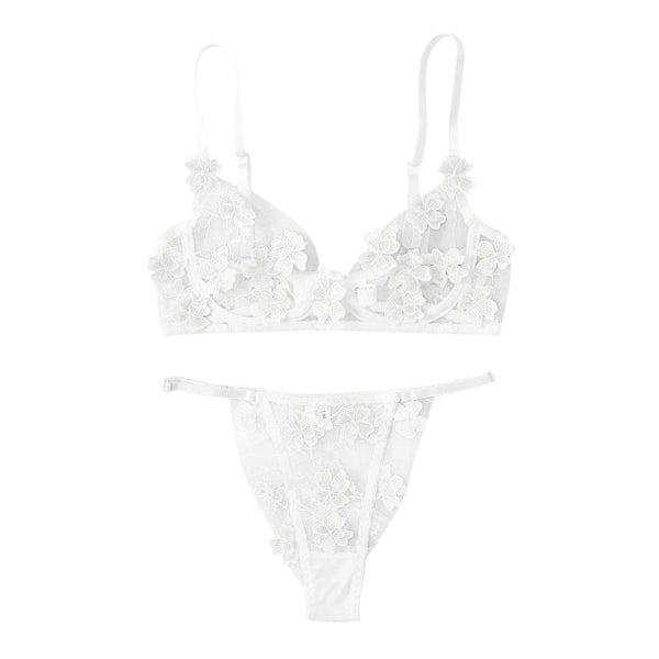 Sexy G-string Flowers Embroidery Bralette Lace Bra Bustier Lingerie Thong Exotic Sets Underwear Sex Clothes Babydoll Nightwear