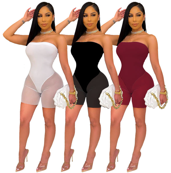 Echoine Strapless Sheer Mesh Patchwork Short Jumpsuit Sexy Skinny Bodycon See Through Playsuit Women Party Clubwear Rompers New