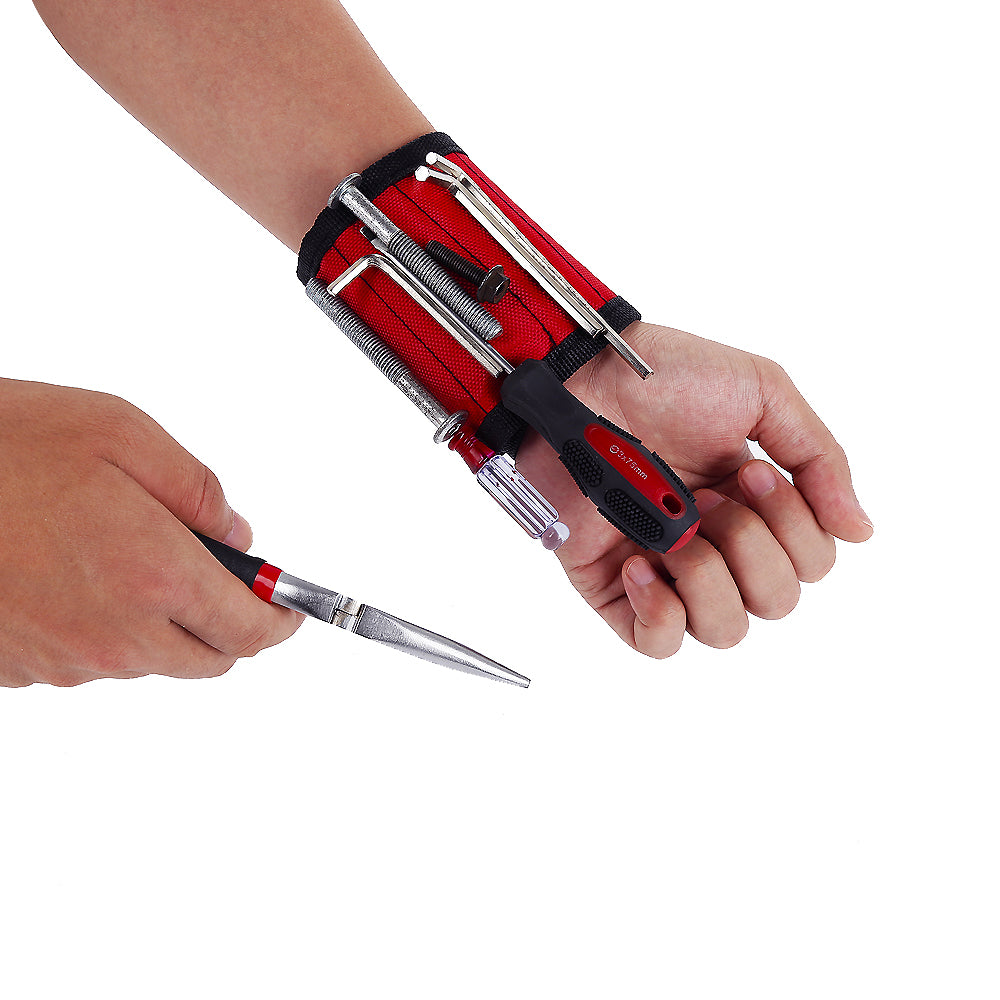 Adjustable Magnetic Wristband Holds Screws, Nails, Drill Bits & More