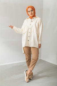 DENIM OVERSHIRT - IVORY