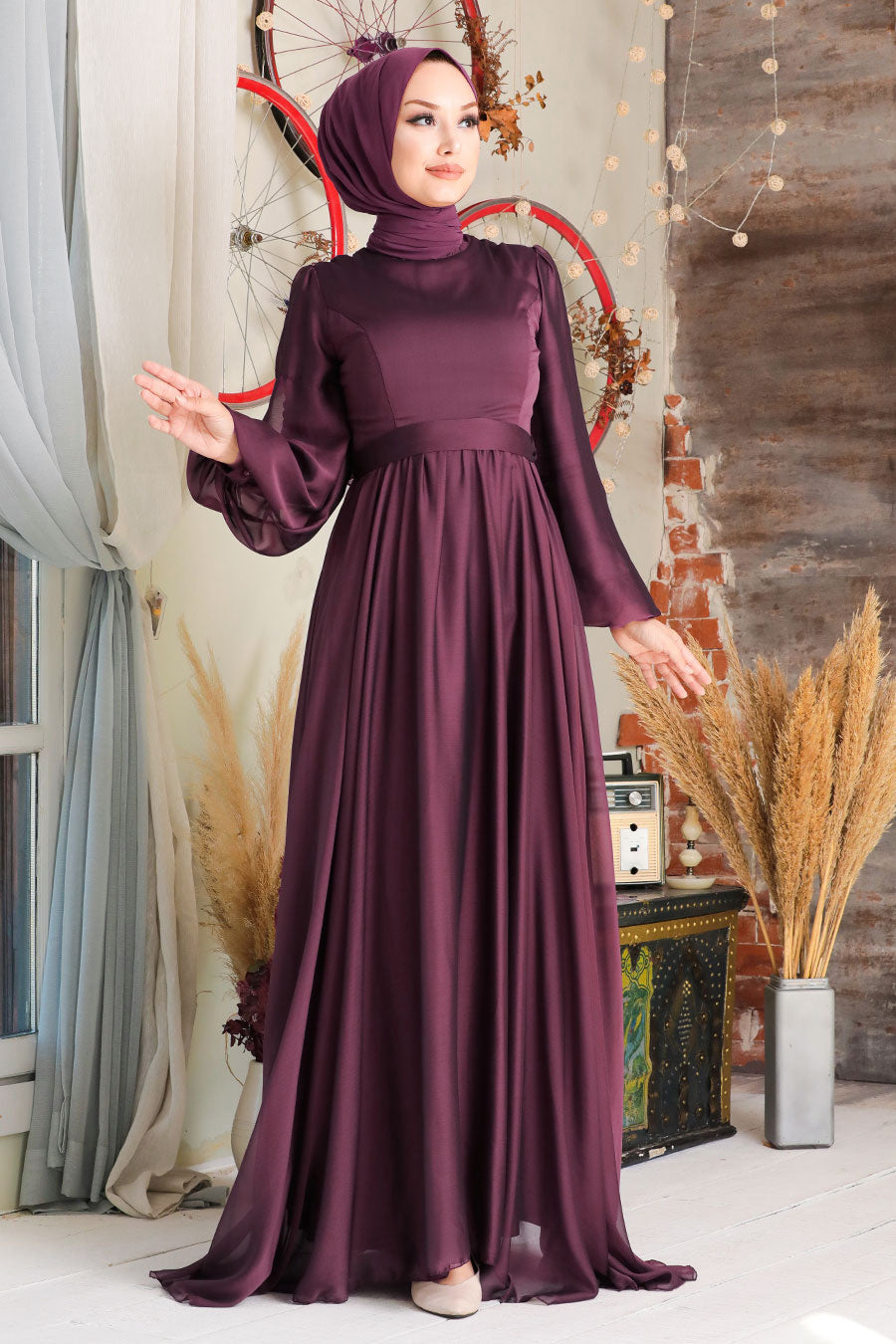 Modest Evening Dress - Burgundy